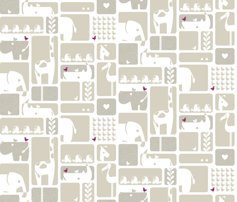 Animal Impression Collection - Animal Silhouette Quilt, Linen fabric by ttoz on Spoonflower - custom fabric