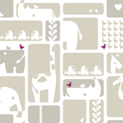 Animal Impression Collection - Animal Silhouette Quilt, Linen