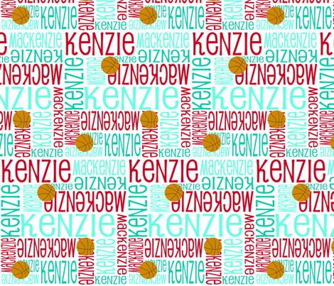 Personalised Name Fabric - Red and Turquoises Basketball fabric by shelleymade on Spoonflower - custom fabric