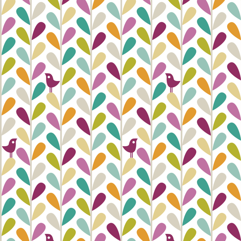 Animal Impressions Collection - Bird Vine fabric by ttoz on Spoonflower - custom fabric