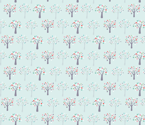 Candy_Forest-_duck_egg fabric by drawnbyrebeccajones on Spoonflower - custom fabric