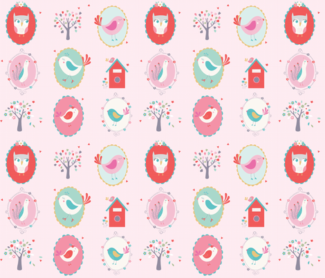 bird_cameo_design-_pink fabric by drawnbyrebeccajones on Spoonflower - custom fabric