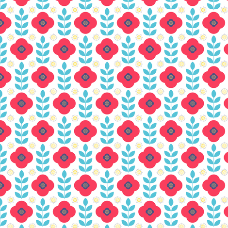 Poppy Field in Fuzzy Felts fabric by forest&sea on Spoonflower - custom fabric
