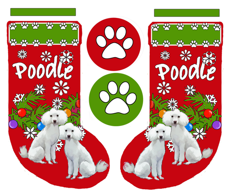 Poodle christmas stocking fabric by dogdaze_ on Spoonflower - custom fabric