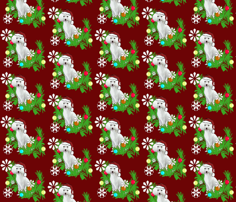 Christmas_poodle fabric by dogdaze_ on Spoonflower - custom fabric