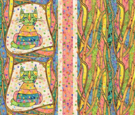 Fancy Schmantzy Garden Cat fabric by peggytoole on Spoonflower - custom fabric