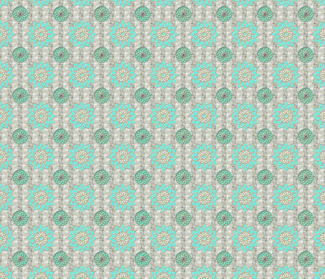 Pewter Star aqua fabric by joanmclemore on Spoonflower - custom fabric