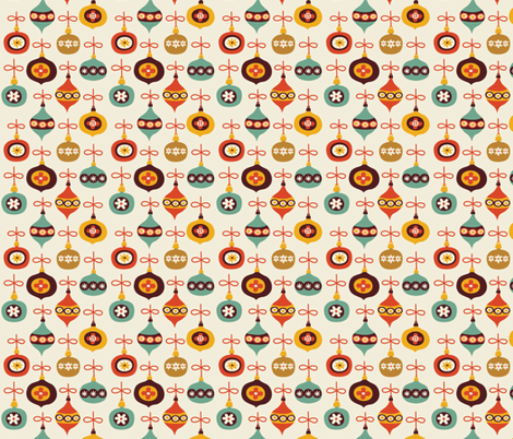 vintage christmas balls fabric - bora - Spoonflower