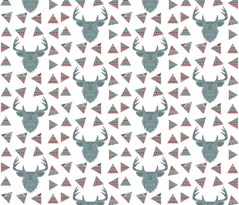 Vintage Tribal Deer fabric by icarpediem on Spoonflower - custom fabric