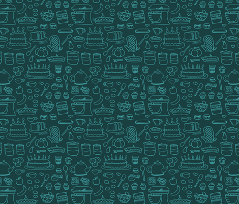 Sketchy Kitchen - Aqua and Teal fabric by jesseesuem on Spoonflower - custom fabric