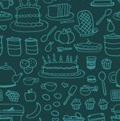 Sketchy Kitchen - Aqua and Teal