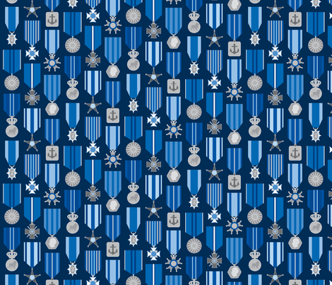 military medals in a blue harmony fabric by mariao on Spoonflower - custom fabric