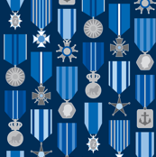 military medals in a blue harmony