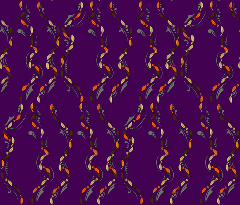 Fall Feathers on Purple fabric by yourfriendamy on Spoonflower - custom fabric