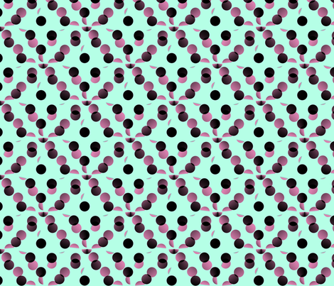 black_and_pink_dots_on_mint_green_background fabric by vinkeli on Spoonflower - custom fabric