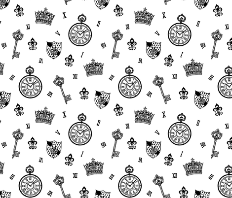 Antique Pocket-Watch, Crown and Keys Black + White fabric by teja_jamilla on Spoonflower - custom fabric