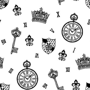 Antique Pocket-Watch, Crown and Keys Black + White