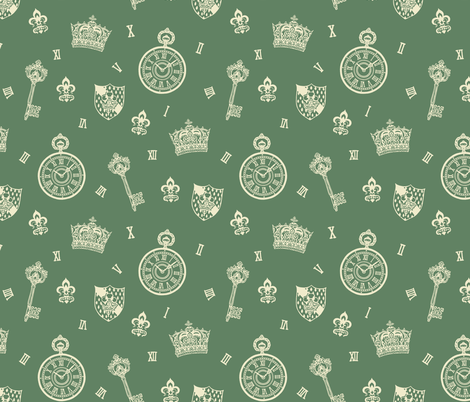 Antique Pocket-Watch, Crown and Keys Sage Green + Cream fabric by teja_jamilla on Spoonflower - custom fabric