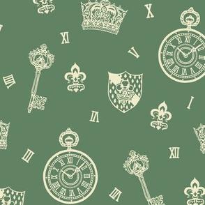 Antique Pocket-Watch, Crown and Keys Sage Green + Cream