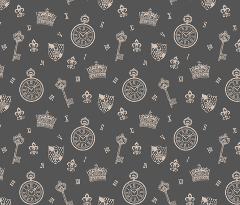Antique Pocket-Watch, Crown and Keys Grey fabric by teja_jamilla on Spoonflower - custom fabric