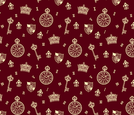 Antique Pocket-Watch, Crown and Keys Maroon + Cream fabric by teja_jamilla on Spoonflower - custom fabric