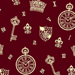 Burgundy Pocketwatch, Crown and Keys Maroon + Cream