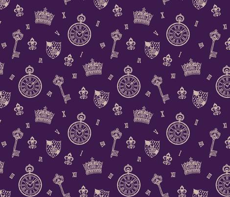 Antique Pocket-Watch, Crown and Keys Royal Purple fabric by teja_jamilla on Spoonflower - custom fabric