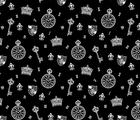 Antique Pocket-Watch, Crown and Keys White On Black fabric by teja_jamilla on Spoonflower - custom fabric