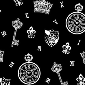 Antique Pocket-Watch, Crown and Keys White On Black