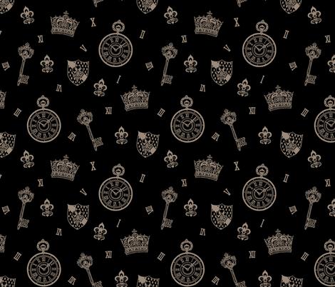 Antique Pocket-Watch, Crown and Keys Black + Grey fabric by teja_jamilla on Spoonflower - custom fabric