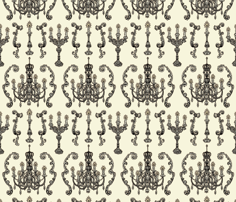 Chandelier and Candelabras Cream fabric by teja_jamilla on Spoonflower - custom fabric