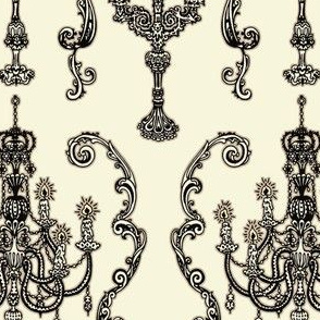 Chandelier and Candelabras Cream