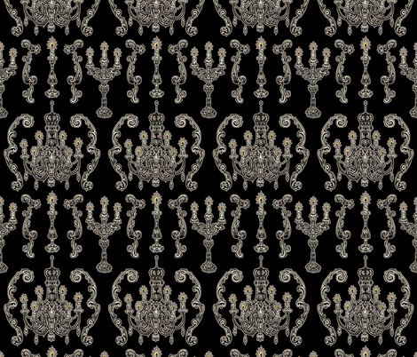 Chandelier and Candelabras Black fabric by teja_jamilla on Spoonflower - custom fabric