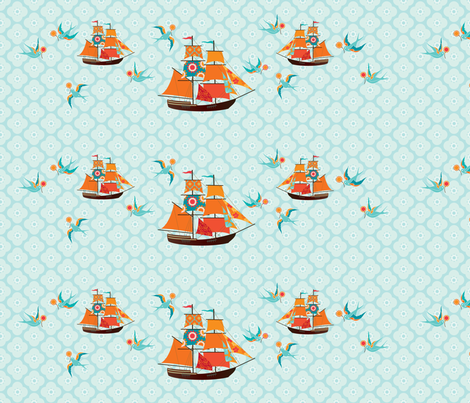 Ships & Swallows - lg repeat fabric by kayajoy on Spoonflower - custom fabric