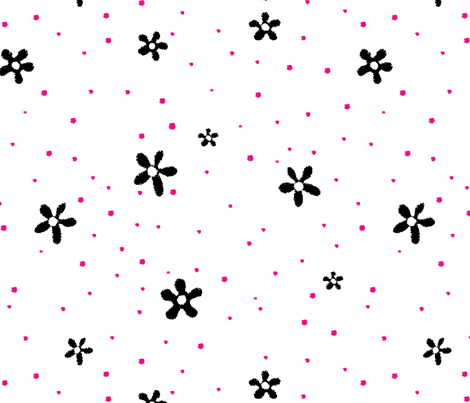 Black Flowers Red Polka Dots fabric by donnamarie on Spoonflower - custom fabric