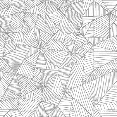 Gray Spiderwebs on White Background