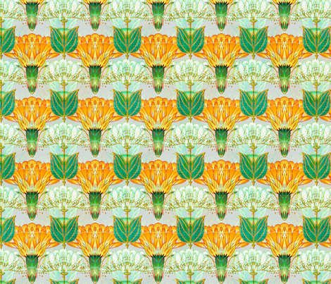 Nouveau Thistle Orange fabric by joanmclemore on Spoonflower - custom fabric