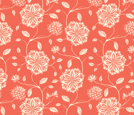Floral Vines Coral fabric by clairicegifford on Spoonflower - custom fabric