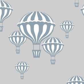 Hot Air Balloons in Slate Blue on Light Gray