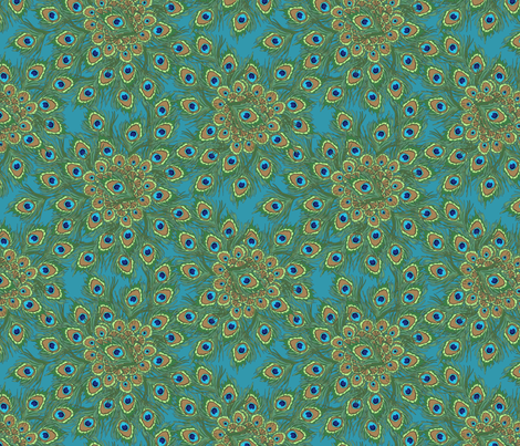 peacock by the numbers 1 fabric by glimmericks on Spoonflower - custom fabric