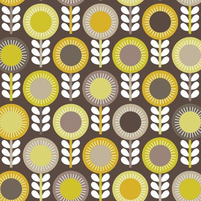 Flower Scales gold-grey multi - dark