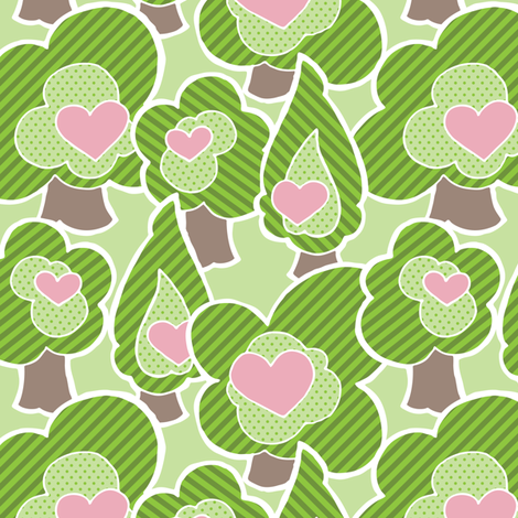 Violet - Forest of Cute Trees by WRKDesigns fabric by wrkdesigns on Spoonflower - custom fabric