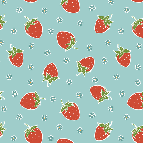 Kellie Strawberry And Flower Ditsy Pattern By WRKDesigns Fabric Adorable Strawberry Pattern