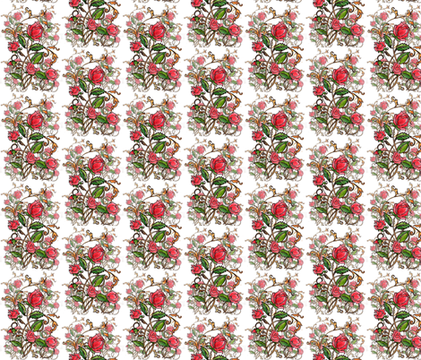Roses and curving leaves fabric by vinkeli on Spoonflower - custom fabric