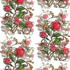 Roses and curving leaves