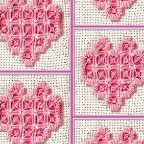 hardanger embroided heart canvas fabric cotton linen