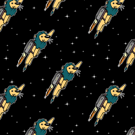 Rocket Lions in the Sky fabric by pond_ripple on Spoonflower - custom fabric