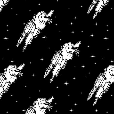 Rocket Lions Black and White fabric by pond_ripple on Spoonflower - custom fabric