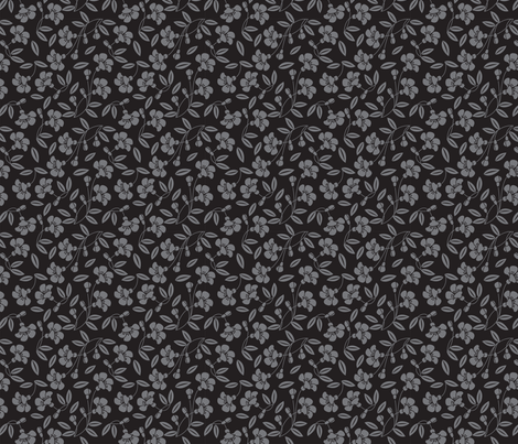 Japanese blossom black fabric by cjldesigns on Spoonflower - custom fabric