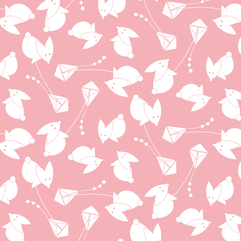 little pink kite     fabric by happy_to_see on Spoonflower - custom fabric